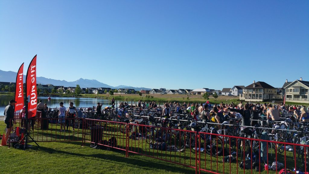Racers in the Corral before the triathlon